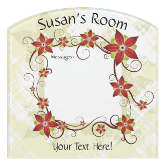 Flowery Room Message Board Sign #1