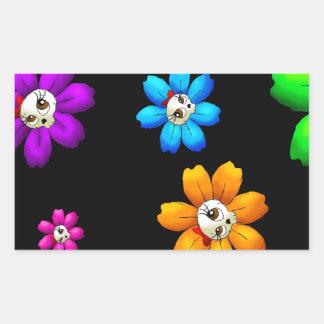 Flowery skulls rectangular sticker