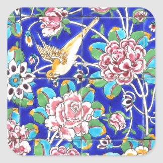 Flowery Tiles Square Sticker