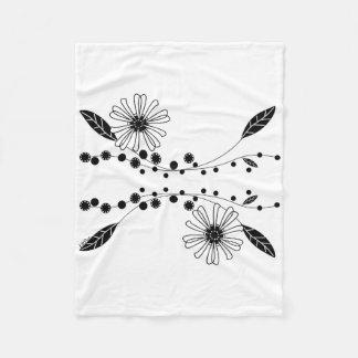 Flowing Black and White Floral Design Fleece Blanket
