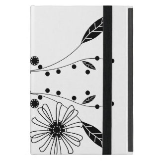 Flowing Black and White Floral Design Covers For iPad Mini