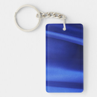 Flowing Blue Silk Fabric Abstract Double-Sided Rectangular Acrylic Key Ring