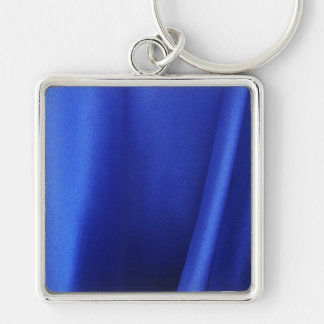 Flowing Blue Silk Fabric Abstract Silver-Colored Square Key Ring