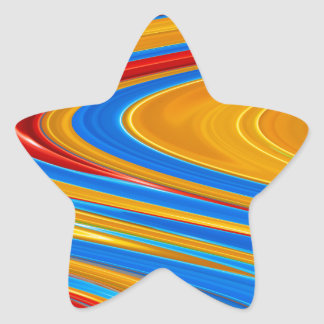 Flowing Color Abstract Star Sticker