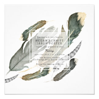 Flowing Feathers Watercolor | Wedding Card