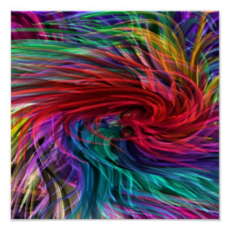 Flowing Fibre Art : Colorful Rainbow Graphics Poster