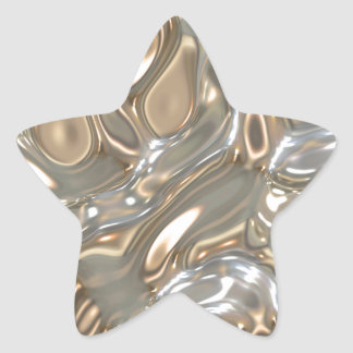 Flowing Liquid Gold and Silver Star Sticker