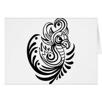 Flowing Regal Bird Design Greeting Card