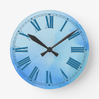 Flowing Shades of Blue Watercolor Effect Wallclocks
