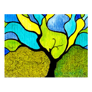 Flowing Tree with Colorful Background Postcard