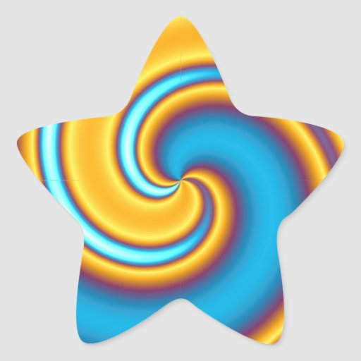 Flowing Yellow Abstract Vortex Star Stickers