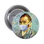 Flu Season Van Gogh With Mask Badge
