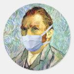 Flu Season Van Gogh With Mask Round Stickers