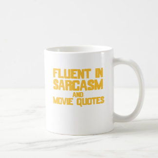 Fluent in Sarcasm and Movie Quotes (yellow) Basic White Mug