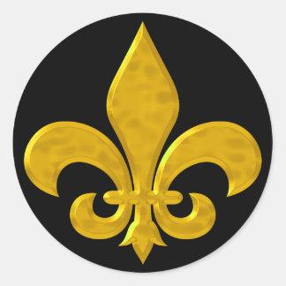 Fluer De Lis Hammered Gold Round Sticker