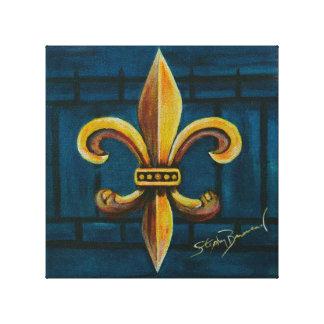 """Fluer De Lis on Blue 10"""" x 10"""" canvas print"""