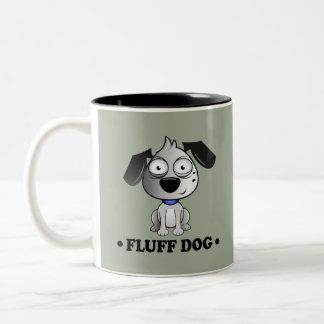 Fluff Dog Grey background. Two-Tone Coffee Mug