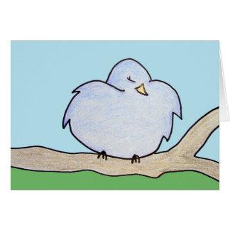 Fluffy Bird on a branch Card