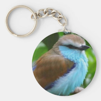 Fluffy Blue Bird Key Ring