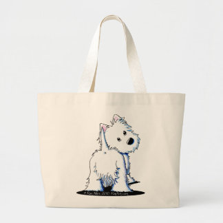 Fluffy Butt Westie Large Tote Bag