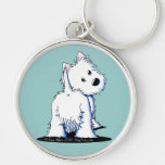 Fluffy Butt Westie Silver-Colored Round Key Ring
