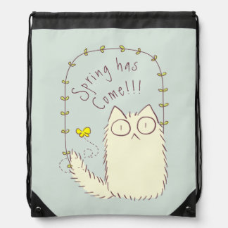 Fluffy Cat and Yellow Butterfly Custom text Drawstring Bag