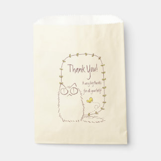 Fluffy Cat and Yellow Butterfly Custom text Favour Bag