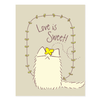 Fluffy Cat and Yellow Butterfly Custom text Postcard