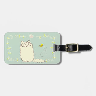 Fluffy Cat and Yellow Butterfly Luggage Tag