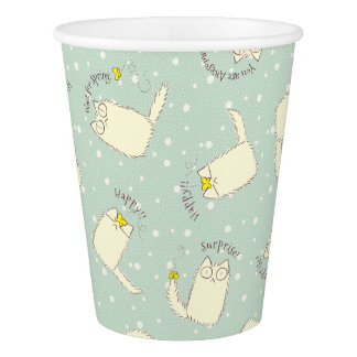 Fluffy Cat and Yellow Butterfly Paper Cup