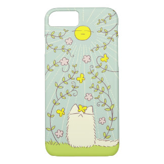 Fluffy Cat and Yellow Sun iPhone 8/7 Case