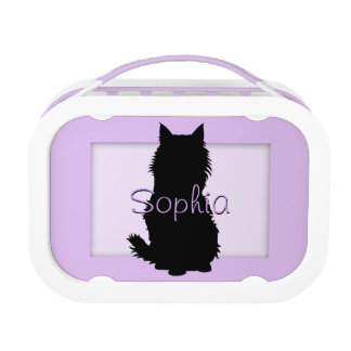 Fluffy Cat Silhouette on Lavender Lunch Box