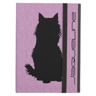 Fluffy Cat Silhouette on Soft Lavender Cover For iPad Air