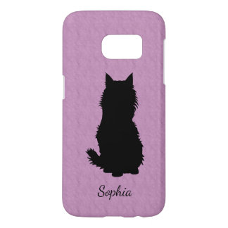 Fluffy Cat Silhouette on Textured Lavender