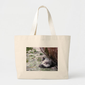 Fluffy cat sleeping crouch on the floor large tote bag