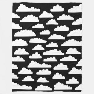 Fluffy Clouds - White on Black Fleece Blanket