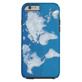 Fluffy clouds world map tough iPhone 6 case