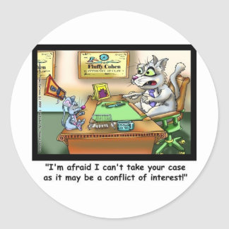 Fluffy Cohen Attorney @ Claw Funny Cat Gifts, etc Round Sticker