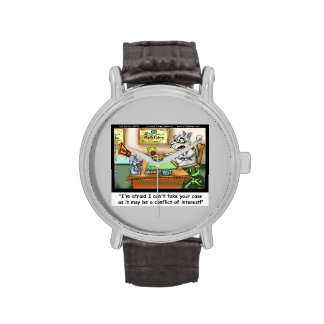 Fluffy Cohen Atty At Claw Funny Cat Lawyer Watch Wristwatch