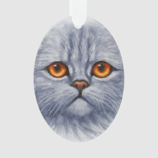 Fluffy Gray Tabby Cat Kitten Face Ornament