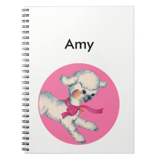 Fluffy Lamb on Pink Notebooks
