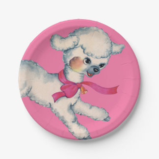 Fluffy Lamb on Pink Paper Plate