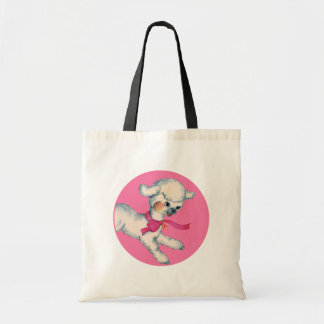 Fluffy Lamb on Pink Tote Bag
