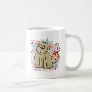 Fluffy Large Dog with Flowers Coffee Mug