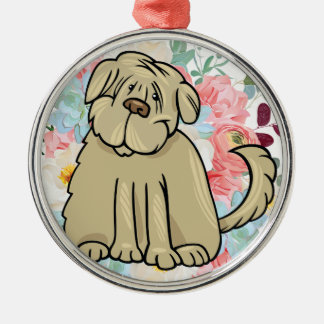 Fluffy Large Dog with Flowers Metal Ornament