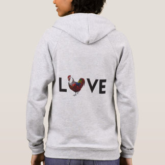 """Fluffy Layers """"LOVE"""" Rooster Womens Hoodie"""