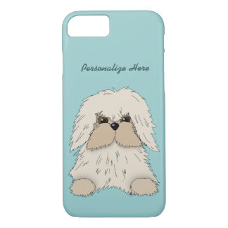 Fluffy Little Dog on Turquoise iPhone 7 Case