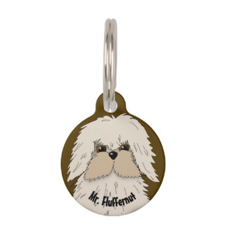 Fluffy Little Maltese Pup Pet ID Tag