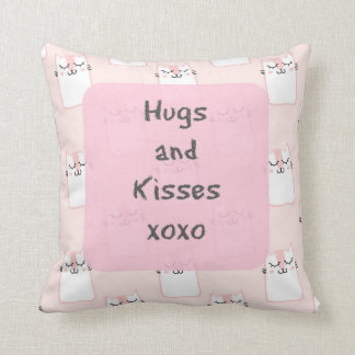 Fluffy Marshmallow Kitty in Pink | Hugs and Kisses Cushion