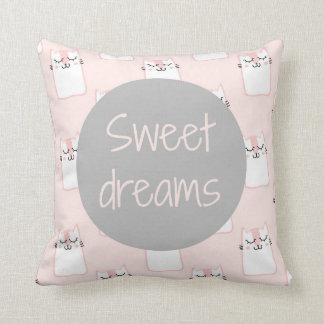 Fluffy Marshmallow Kitty in Pink | Sweet Dreams Cushion